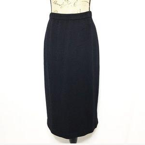 St. John Basics Black Wool Midi Pencil Skirt